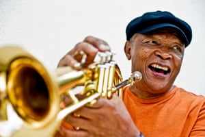 Hugh Masekela photographed for the Guardian in 2011.