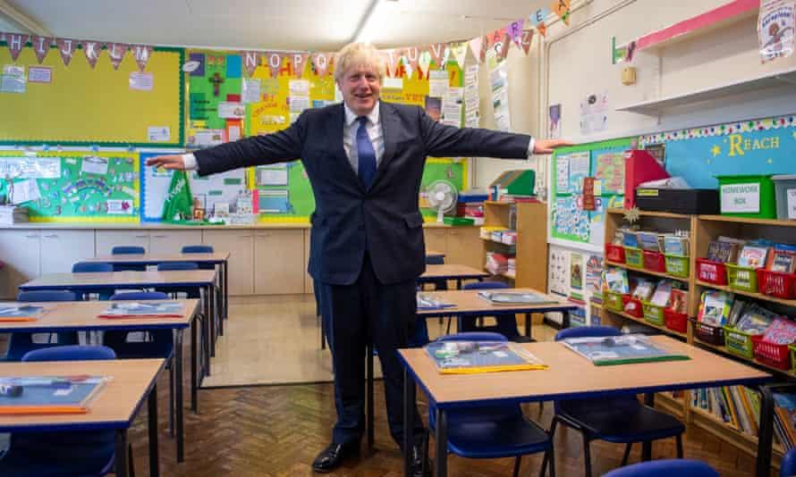 Boris Johnson in a primary school classroom
