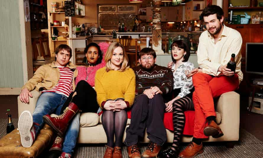 All back to theirs: Joe Thomas, Zawe Ashton, Kimberley Nixon, Greg McHugh, Charlotte Ritchie and Jack Whitehall in Fresh Meat