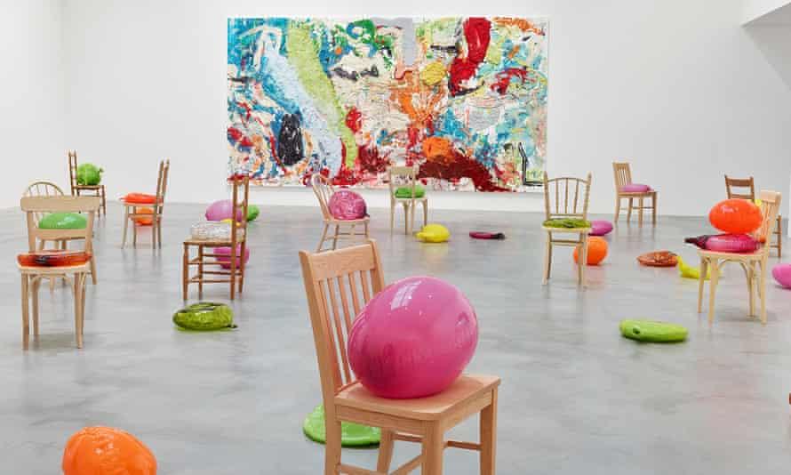 Bright spark: Dan Colen's colourful work.