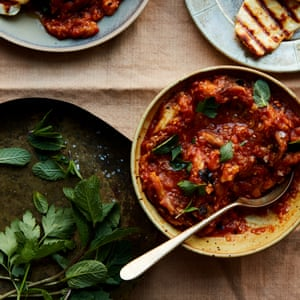 Anna Jones' spiced aubergines with halloumi (zaalouk).