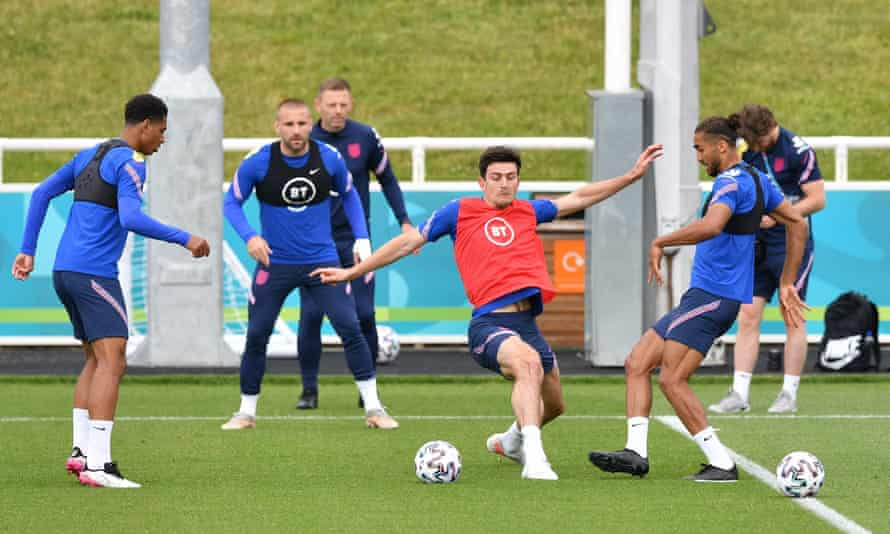 Harry Maguire in training with his England teammates on Tuesday