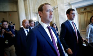 Facebook CEO Mark Zuckerberg attends meetings on Capitol Hill on 19 September.