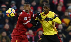 Adboulaye Doucouré, right, in action here against Liverpool, has been a marauding, hard-working and clever presence in Watford's midfield.