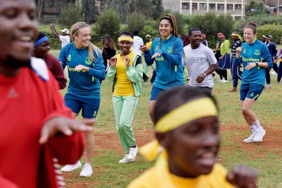 Simone Magill, Gabby George and Dan Turner during Everton's pre-season trip to Nairobi.