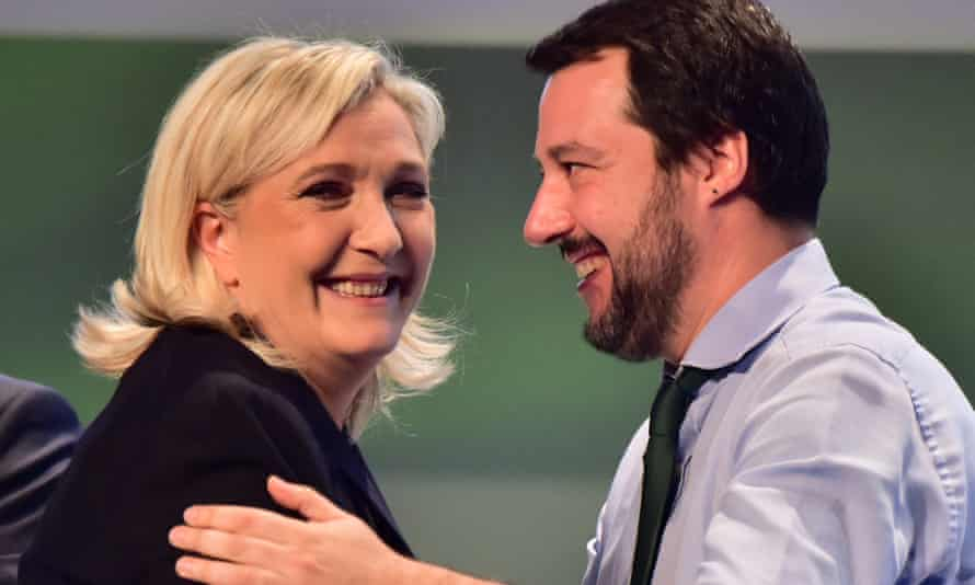 The faces of national populism ... Far-right politicians Marine Le Pen and Matteo Salvini.
