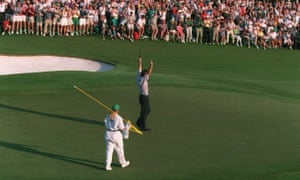 Nick Faldo celebrates after holing his final putt on the 18th green.