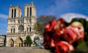 Flowers at Notre Dame Cathedral on 17 April.