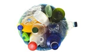 Bin full of plastic bottles