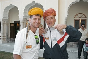 Robin Smith with Alec Stewart on England's tour to India in 1993.