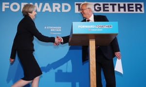 David Davis greets Theresa May to launch the Conservative party election manifesto in 2017.