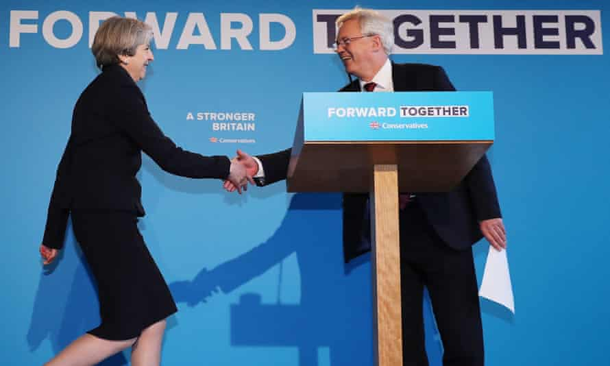 Theresa May is greeted by David Davis at the launch of the Conservative party election manifesto in May.