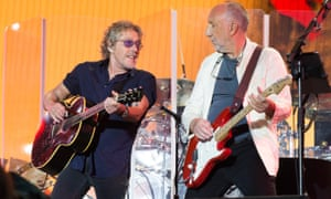 Roger Daltrey, left, and Pete Townshend during The Who's performance at Glastonbury festival in June.