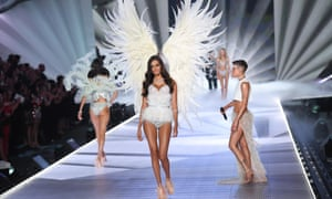 An Angel on the catwalk at the 2018 Victoria's Secret fashion show