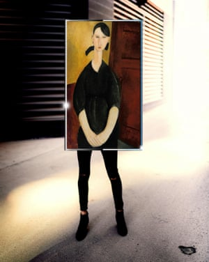 Portrait of Paulette Jourdain by Amedeo Modigliani photographed by Michael Thibault