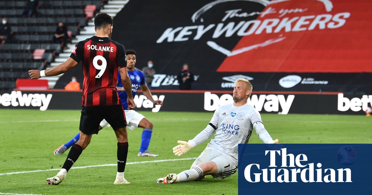 Bournemouth grab lifeline at expense of 10-man Leicester with Solanke double