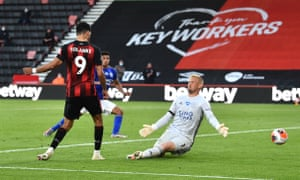 Bournemouth's Dominic Solanke scores his second goal against Leicester past Kasper Schmeichel