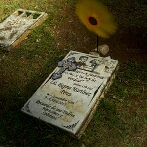 Regina Martínez's grave in the Panteón Bosques del Recuerdo cemetery, Xalapa.
