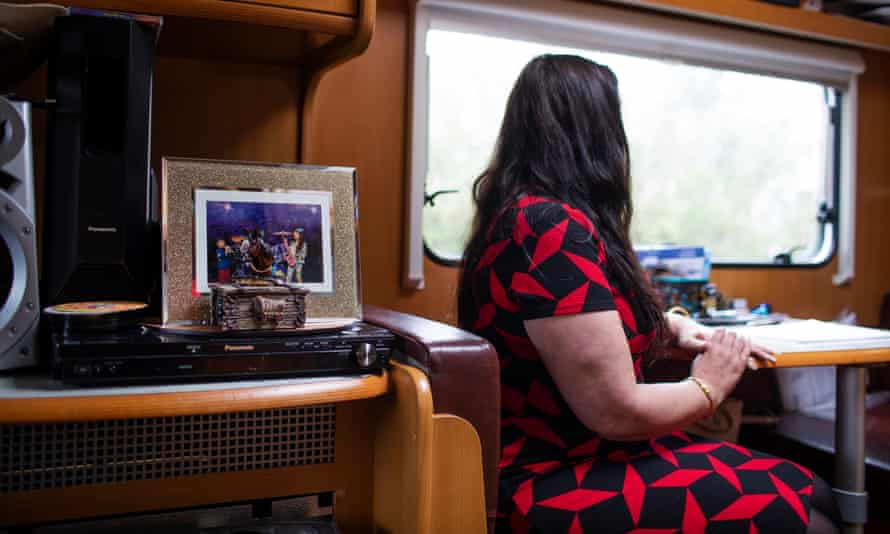 Abiline McShane in her caravan in Birmingham