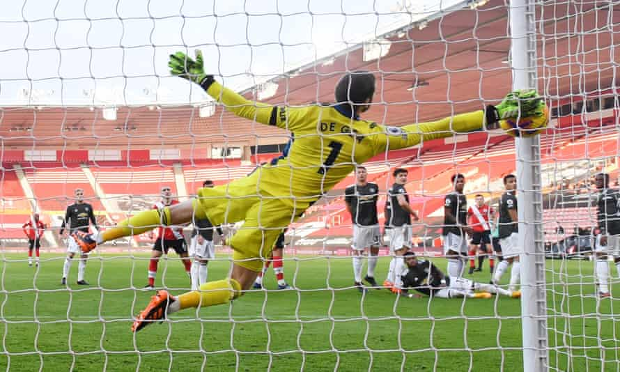David de Gea is unable to keep out James Ward-Prowse's free-kick for Southampton's second goal.