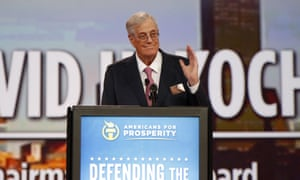 David Koch speaks at the Defending the American Dream summit hosted by Americans for Prosperity in Columbus, Ohio, in 2015.