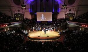 Emmanuel Macron speaks to supporters