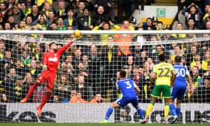 Bartosz Bialkowski saves from Norwich City's Jacob Murphy in February's derby.