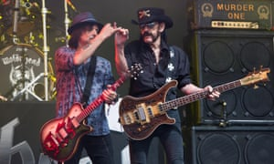 Phil Campbell, left, and Lemmy of Motörhead perform at the Glastonbury festival 2015.
