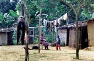 A dead monkey sold as bushmeat outside a house in Gabon