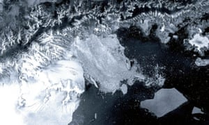 ESA satellite image from 2002 of the Larsen B ice shelf, shattered and separated from the continent.