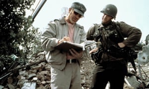 Spielberg with Tom Hanks on the set of Saving Private Ryan