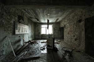 Ukraine A room at Pripyat's abandoned Hospital No 126. In the basement are the suits worn by the firemen who went to Chernobyl after the explosion, which still have a lethal dose of radiation