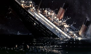 Film still of Titanic sinking