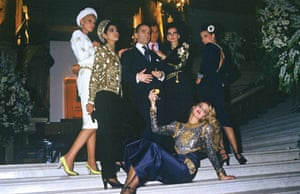 Lagerfeld and his models (including Jerry Hall lying down) at the Autumn/Winter 84/85 Chanel show in Paris