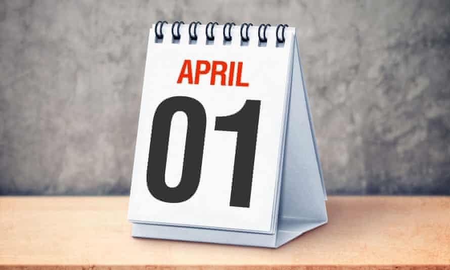 Calendar showing 1 April