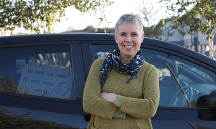 Vicky Wyer and her Nissan Leaf electric car