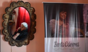 Maria Austra Berta Flores, the mother of indigenous Honduran environmentalist Berta Cáceres, receives a phone call on the first anniversary of her daughter's deathB