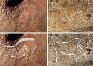 This composite shows two cave engravings representing bisons (top) and a highlighted version of them, in the Atxurra cave.