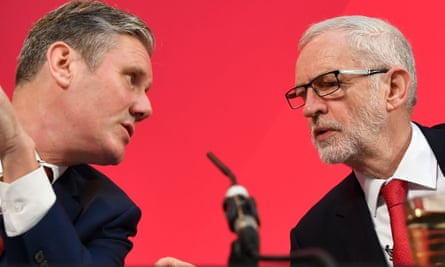 Keir Starmer and Jeremy Corbyn in London on 6 December 2019