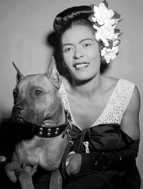 Billie Holiday with her dog Mister, 1947.