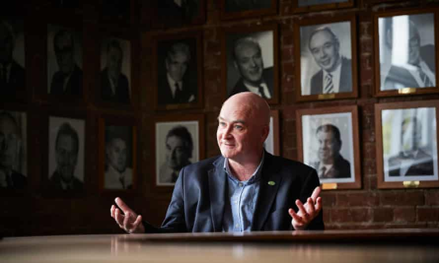 Mick Lynch, the new general secretary of the RMT union photographed inside the HQ's boardroom in Euston, London.