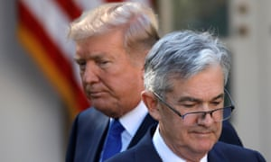 US President Donald Trump (left) and Federal Reserve chairman Jerome Powell.