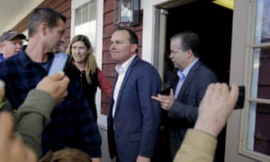 On the team? Senator Mike Lee campaigning for Cruz last month.