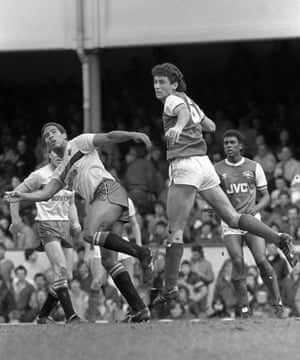 Arsenal's Martin Keown and Watford's John Barnes in action during Watford's 2-0 win at Highbury on 31 March 1986