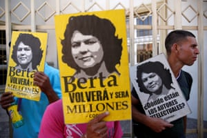 A protest outside court in Tegucigalpa, Honduras, during a hearing of Roberto David Castillo, who was arrested on charges of helping plan the murder of Berta Caceres