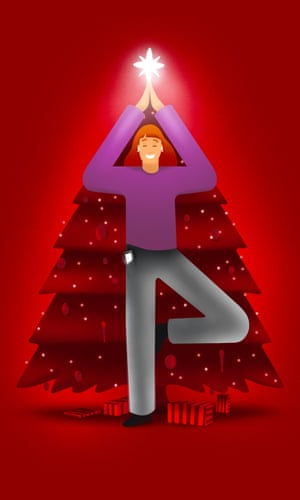 Illustration of woman doing yoga pose in front of Christmas tree