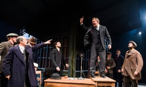 Jonathan Cullen (Aslaksen) and Hugh Bonneville (Dr Tomas Stockmann) in An Enemy Of The People by Ibsen in Chichester, 2016.