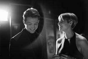 Actors Joe Alwyn and Niamh Algar chatting backstage