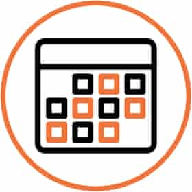 Illustration of phone face with apps in white circle with orange border
