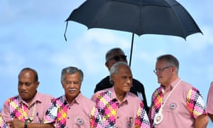 (L-R) Kiribati's President Taneti Maamau, Cook Islands Prime Minister Henry Puna, Tonga's Prime Minister Akilisi Pohiva and Australia's Prime Minister Scott Morrison. Pohiva cried as he reflected on a presentation given by two young women about their fears for the future.